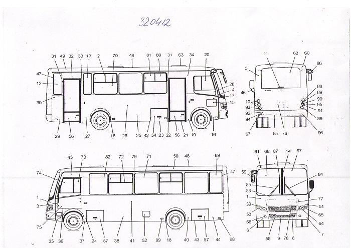 Схема стекол автобуса ПАЗ 320412