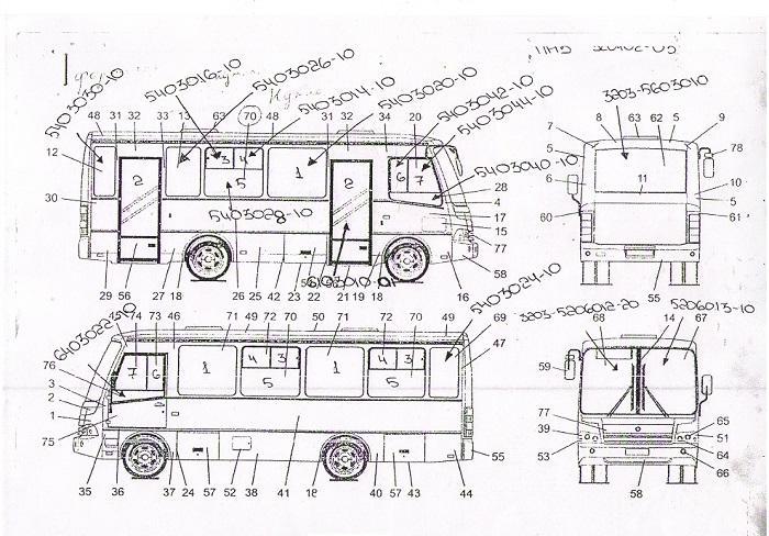 Схема стекол автобуса ПАЗ 320402